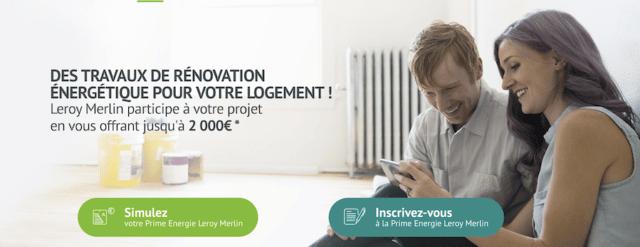 Prime Eco energie Leroy Merlin
